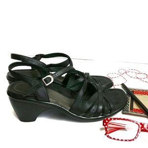 Dansko Open Toe Clog Heel Strappy Black Size 39